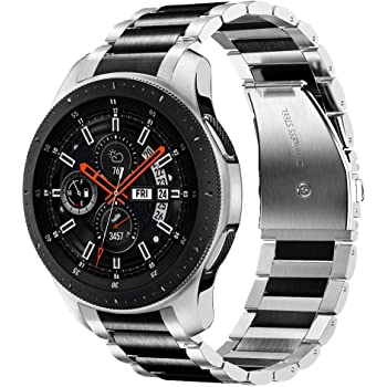 V MORO Strap Compitable for Gear S3 FrontierClassic Watch StrapsGalaxy Watch 46mm Straps,22mm Black Solid Metal Stainless Steel Replacement Bracelet