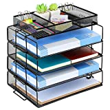 Coralov Letter Tray Organizer, 5 Tiers Stackable Letter Tray Office Desktop Organizer, A4 Paper Sorter Mesh File Paper Tray Organizer with Supplies Sliding Drawer, Black