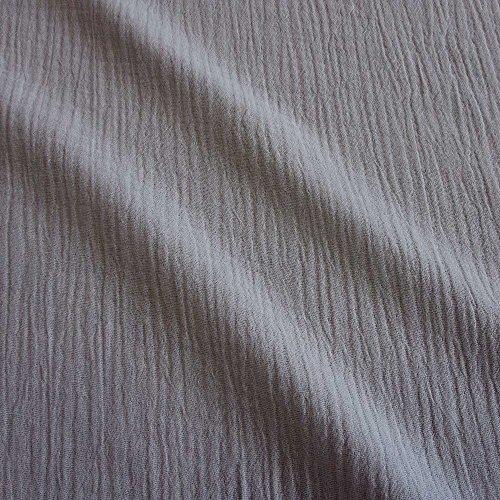 Meterware Stoff Baumwolle Musselin grau Uni Mulltuch Kleiderstoff Double Gauze