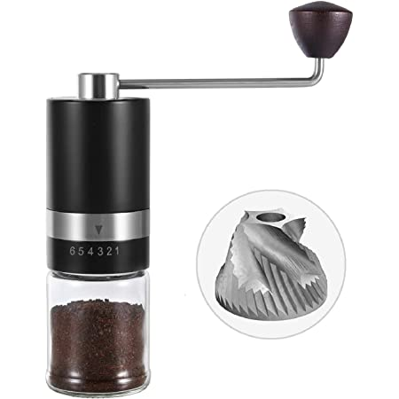 VEVOK CHEF Manual Coffee Grinder Hand Coffee Grinder 6 Adjustable Setting Stainless Steel Conical Burr Mill Portable Hand Crank Coffee Bean Grinder for Espresso Gift