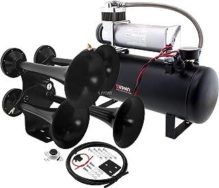 Vixen Horns Train Horn Kit for Trucks/Car/Semi. Complete Onboard System- 200psi Air Compressor, 2.5 Gallon Tank, 4 Trumpets. Super Loud dB. Fits Vehicles Like Pickup/Jeep/RV/SUV 12v VXO8580/4318B