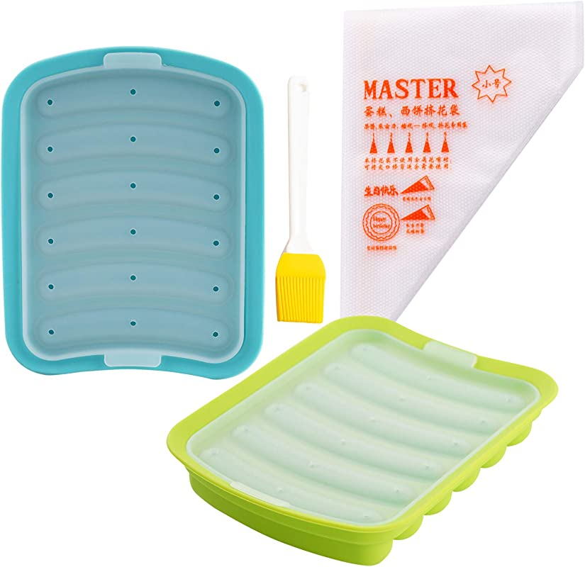 Silicone Baking Sausage Mold Set 2 Hot Dog Molds 1 Silicone Brush 100 Disposable Bags DIY Handmade Baby Food Hamburger Pan Kitchen Cooking Tray For Ice Cube Bread Candy Jelly Chocolate Cake