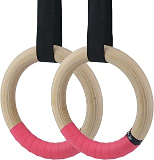 Sunnyglade 2Pcs Wood Gymnastics Rings with 16FT Long Adjustable Straps & 4Pcs Non-Slip Hand Tapes Exercise Training Rings for Home/Gym Full Body Strength Training