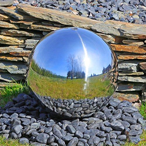 CLGarden Grande boule en acier inoxydable pour fontaines de jardin, minutieusement polie avec un diamètre de 48 cm pour fontaines Fontaines ornementales d'extérieur de jardin