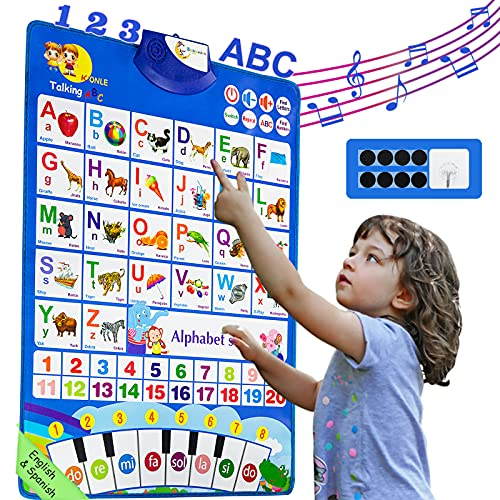 Bilingual Learning Toys for Toddlers Kids: Electronic Interactive Alphabet Wall Chart   Talking ABC, 123, English, Spanish, Piano Poster   Educational Gifts for Age 1 2 3 4 5 Year Old Baby boy Girl