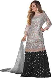 فستان نسائي أزرق وأسود لحفلات الكوكتيل وثقيل وثقيل وزي زي كورتا هندي باكستاني 6096