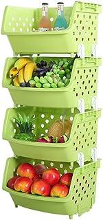 Luoke Boîte de Rangement à Un étage en Plastique Fruits légumes légumes Multi-usages Cuisine Articles Divers étagère de Pa...