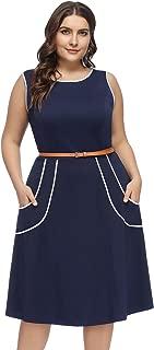 Women Plus Size Sleeveless Pockets A-Line Midi Dress with Belt