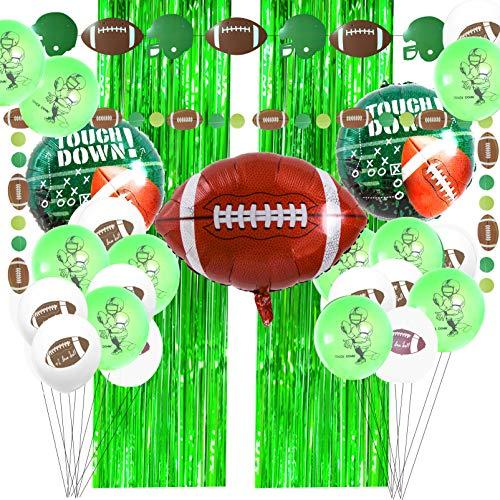 Decoración de fiesta de fútbol americano para el Día del Juego incluye guirnalda de fútbol, 2 cortinas de flecos de aluminio verde (3.2 x 8.3 pulgadas), globos de fútbol para...