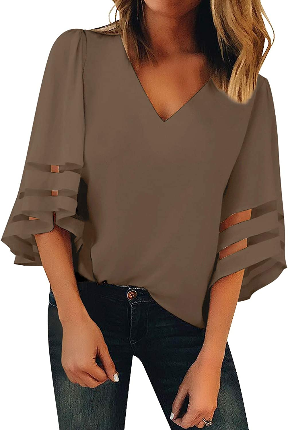 Bdcoco Womens 3/4 Bell Sleeve V Neck Mesh Patchwork Blouse Tops Casual Loose Shirts