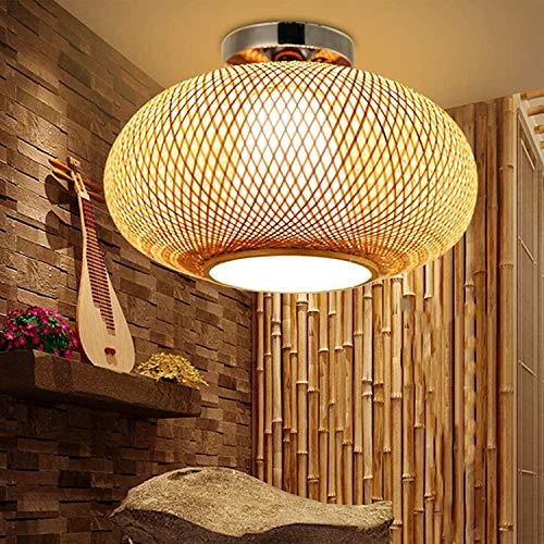 HIZH Vintage Deckenleuchte Holz Bambus Retro Kreative Rattan Lampenschirm Kronleuchter Handgefertigter Rattan Pendelleuchte E27,40cm