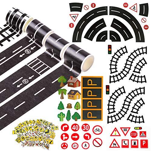 HANGNUO 4 Rollen Straße Klebeband Eisenbahn/Autobahn/ Kurvenverlauf/ Geschwindigkeit Grenze Spur mit Verkehrsschild, Parkschild Aufkleber für Kid Toy Fahrzeug,