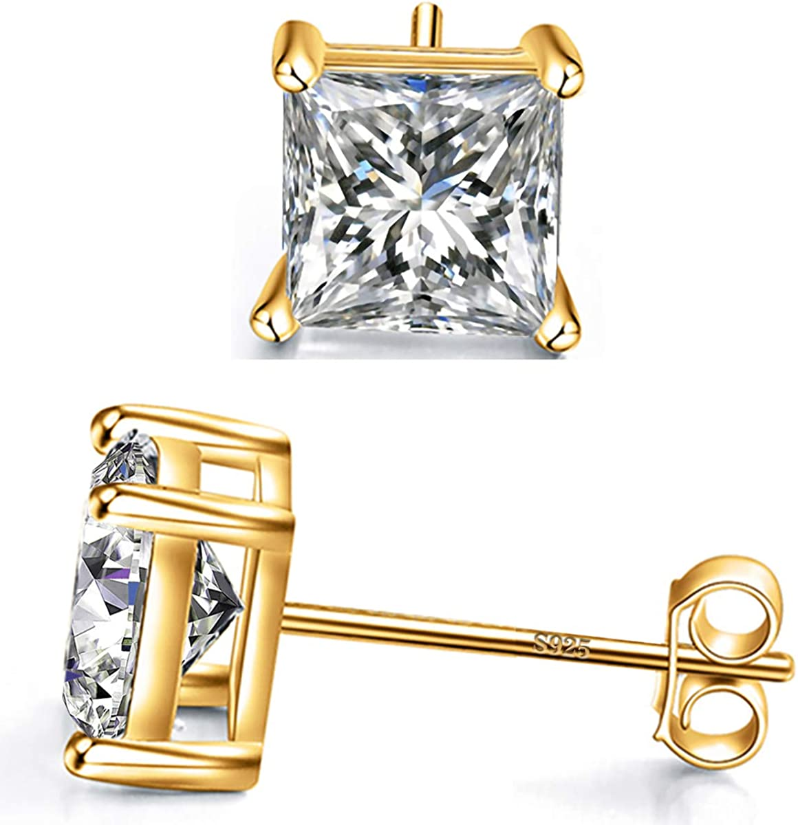 925 Sterling Silver Stud Earrings 4 Cut Princess lowest shipfree price Square Prong Cu