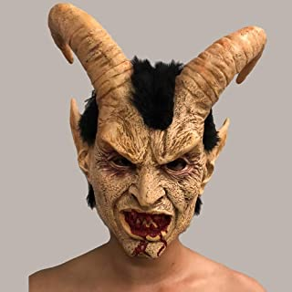 Horror Masks Lucifer Horn Latex Masks Halloween Costume Scary Demon Movie Horrible mask Adults Party Props