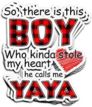 ViralTee 3 PCs Stickers So, There is This Boy Who Kinda Stole My Heart He Calls Me Yaya 4 × 3 Inch Die-Cut Decals
