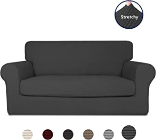 PureFit 2-Piece Stretch Slipcover for 2 Cushion Couch – Spandex Jacquard non-Slip Soft Fitted Sofa Couch Cover Washable Furniture Protector with Anti-Skid Elastic Bottom for Kids (Loveseat, Dark Gray)