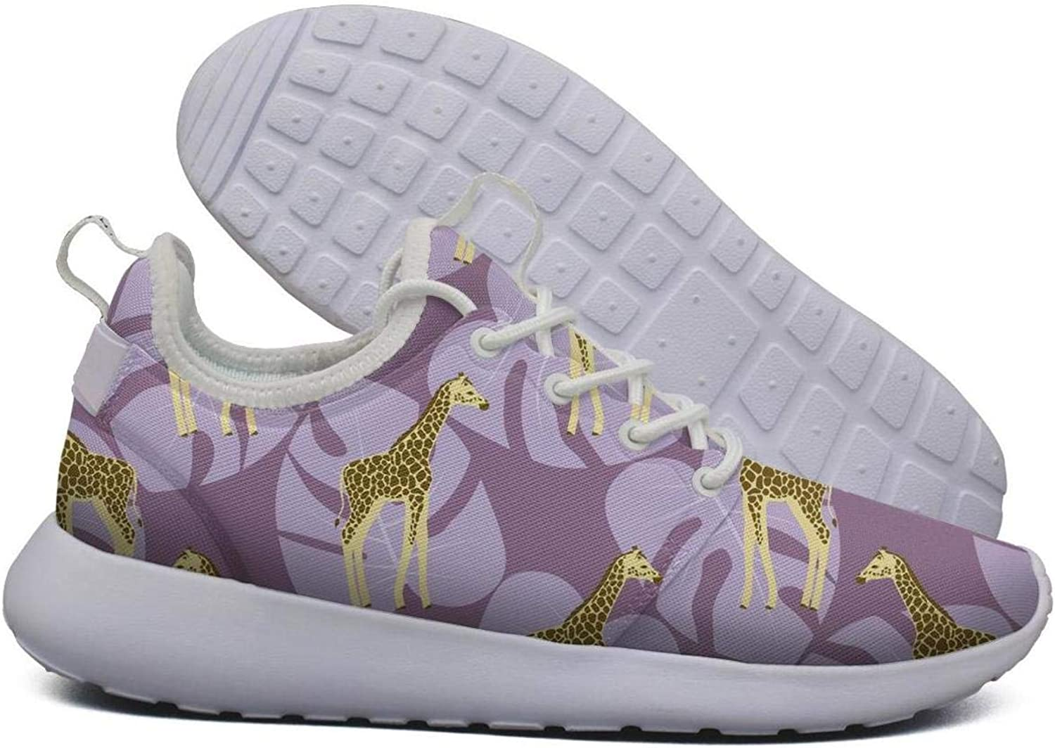 Hoohle Sports Womens Tropical Purple Giraffes with Palm Flex Mesh Roshe 2 Lightweight Cute Cross-Trainer shoes