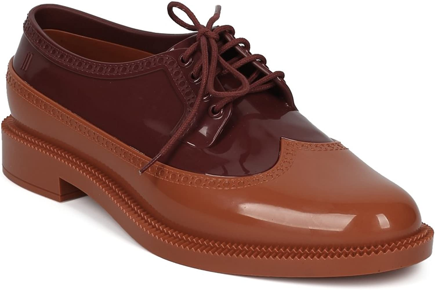 Melissa Classic Brogue Women PVC Lace Up Spectator Loafer HE18
