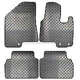 Carsio ZCUT-1548-(40 x 3) Alfombrillas de Goma a Medida para Coche de 4 Piezas, 3 Clips para Adaptarse – Hyundai IX35 2010 a 2016, Color Negro