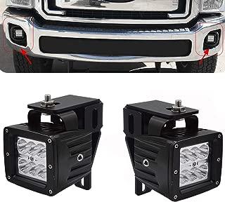 2x 3 Inch 18W LED Fog Light Pod & Hidden Bumper Mounting Brackets Fit for 1999-2016 Ford F250 F350 F450 Super Duty & 2000-2005 Ford Excursion