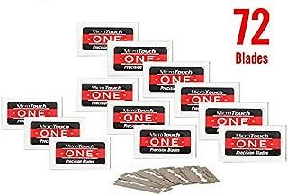 72 Premium MicroTouch ONE Nostalgic Precision Double Edge Razor Blades - Platinum Stainless Blades Work with Any Safety Razor