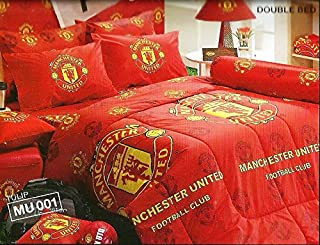 Manchester United Football Club Bedding In Bag Set (Queen Size, MU001); 1 Four Season Comforter with 4 pieces of Bed Fitted Sheet Set