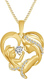 Mom with Child Heart Pendant Necklace in 14k Yellow Gold Over Sterling Silver