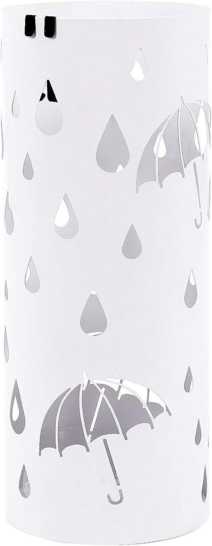 QXX Household Umbrella Bucket Hotel Lobby Wrought Iron Umbrella Shelf Storage Bucket Floor Modern Minimalist Creative Rack 49  19.5cm (color   White)