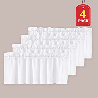 H.VERSAILTEX Privacy Protection Kitchen Valances for Windows Room Darkening Curtain Valances for Bedroom, Rod Pocket, 4 Pack, Pure White, 52 x 18 Inch