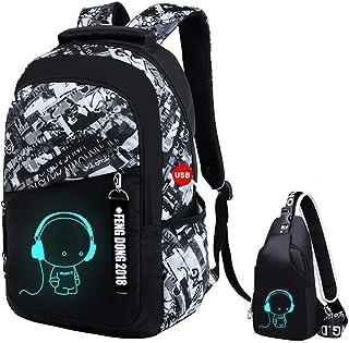 UMYMAYDO1 DJ Luminous Mochila, Unisex Schoolbag Mochila para portátil Bolsa Fresca para Adolescentes con USB Puerto , Bols...
