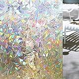 Shackcom 3D Vinilo Película de Ventana Privacidad Pegatina 90 * 200cm-sin Adhesivo-Decorativas para Electrostatica Translucido Anti UV Cristal Laminas Multicolor para Hogar Cocina Baño y Oficina-S160