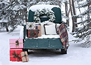 7x5ft Christmas Backdrops Winter Forest Snown Green Car Photo Backgrounds with Pillows Xmas Garland Gift Photography Shoot Backdrop Studio Props