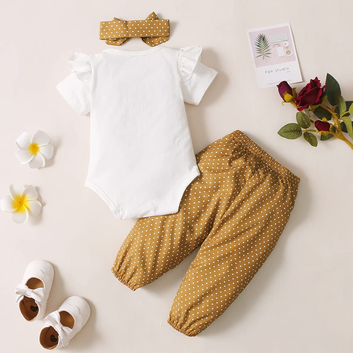 Baby Girl Clothes,Newborn Baby Girl Outfit and Headband 3 PCS Set Short Sleeve Floral Jumpsuit Romper Short Pants for Summer
