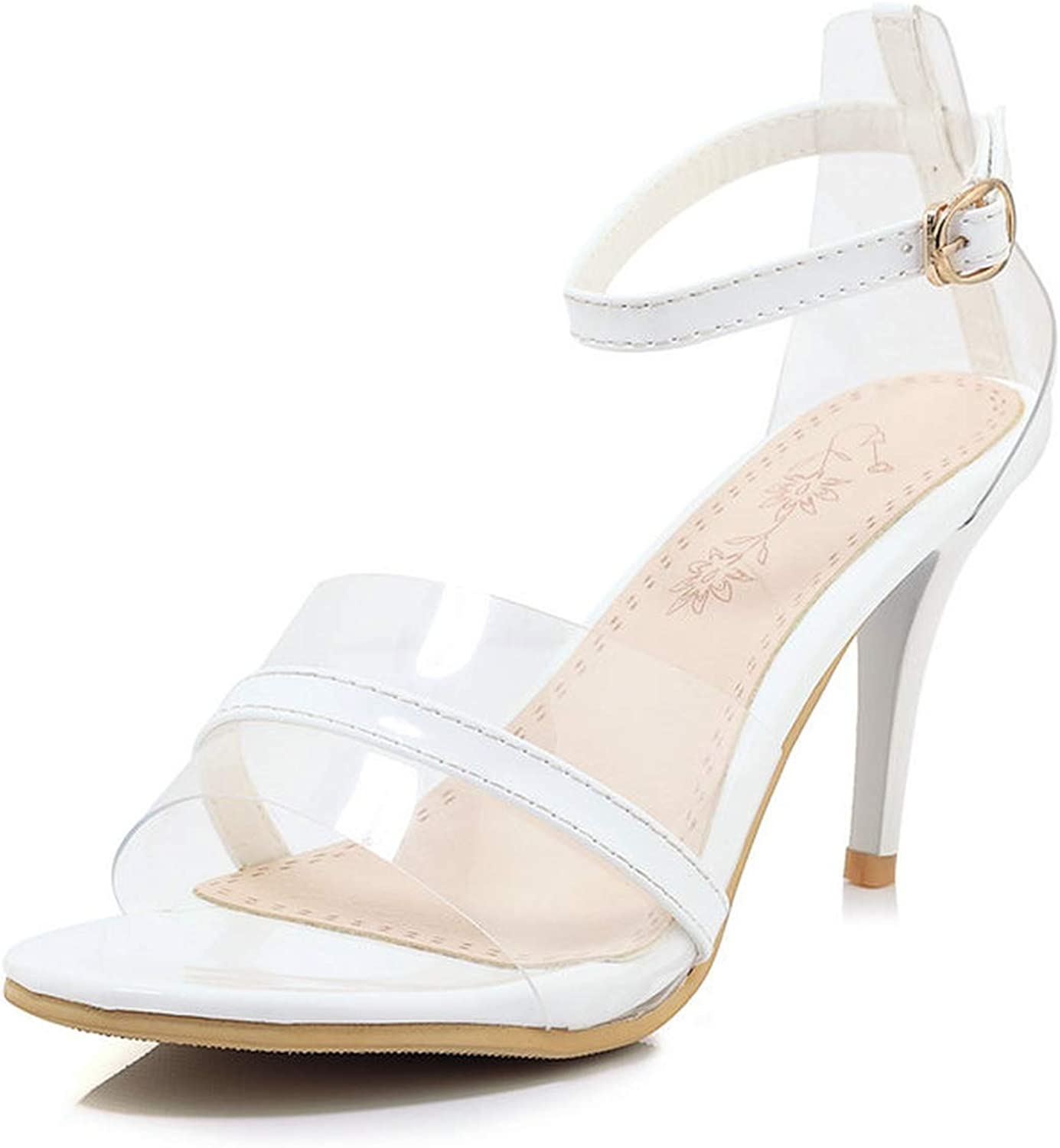 Women Pumps Pu Leather Transparent Round Open-Toed Thin High Heel Buckle Party Sandals 34-43