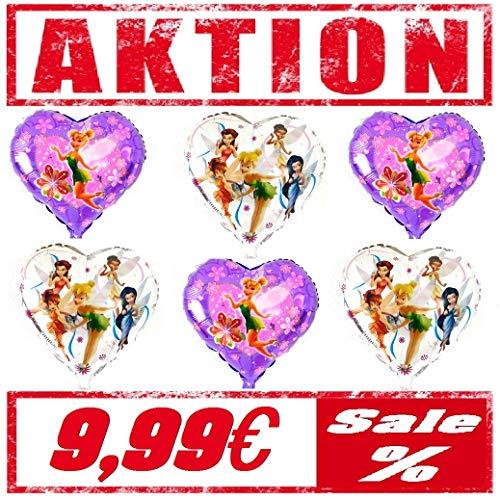 Tinkerbell / Tinker Bell Fee 6er Set Folienballon Party Geburtstag Luft Ballon Deko / Dekoration Hochzeit Peter Pan Helium