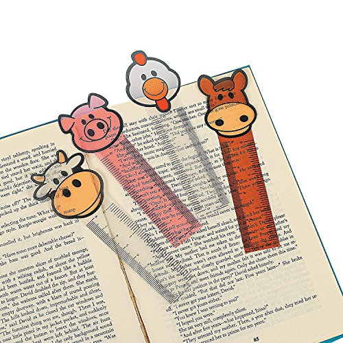 Farm Animal Bookmarks for Kids - Book Markers / Mini Ruler - Classroom Prizes - 24 Pack