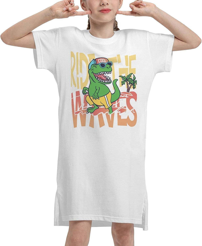 Ride The Waves Summer Girls Dress Casual Cotton Sleeveless Skirt Dresses for Girls Kids 7-12 Years