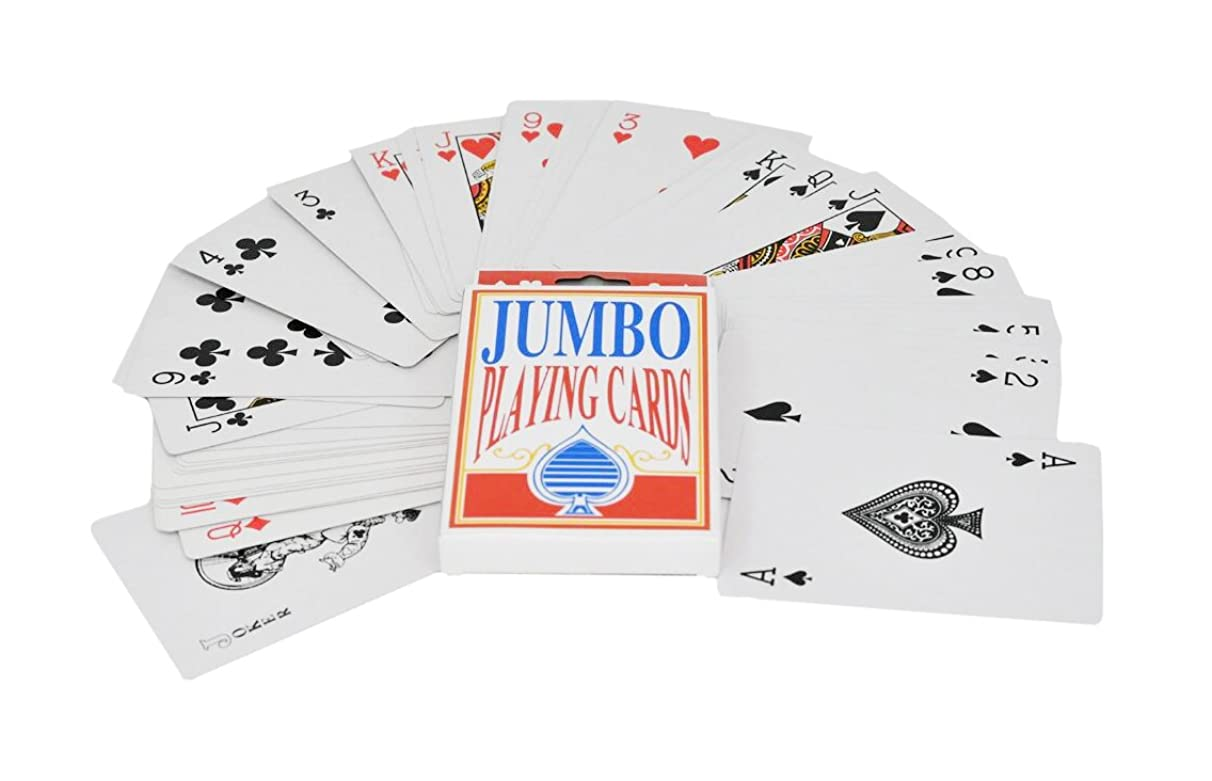 Home-X Jumbo Playing Cards | 3.5 x 5 Inch Plastic Coated Cards - by