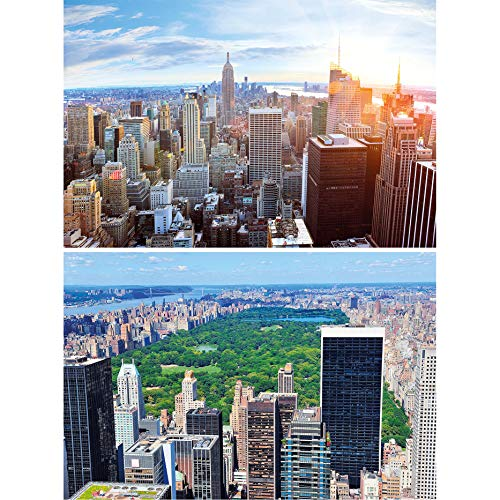 GREAT ART 2er Set XXL Poster – Blick auf New York Skyline – Penthouse & Central Park Amerika USA City Großstadt Städte Reise Wand-Bild Dekoration Fotoposter Wanddeko (140 x 100cm)