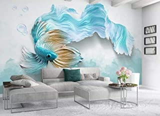 3D Mural Wallpaper, Large Size Modern Minimalist Blue Gold Long Tail Koi Fish Pictures 5D Print Silk Cloth Fabric Wall Art Decoration For Living Room Bedroom Kitchen Ceiling Office,300Cm(W) X 200Cm(H)