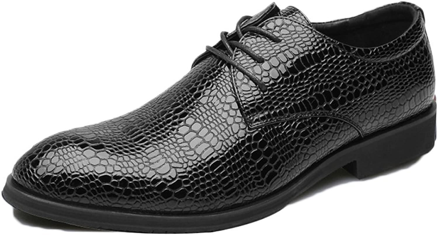 Snfgoij Male Leather shoes Brown Tie Casual Soft Commerce Summer Men's shoes Crocodile Pattern Specified shoes