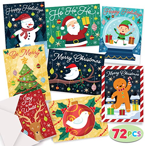 Christmas Cards Colorful 72 Christmas Greeting Cards Collection with Envelopes for Winter Merry Christmas Season, Holiday Gift Giving, Xmas Gifts Cards.
