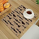 Heat-Resistant Placemats,Stain Resistant Anti-Skid Washable Table Mats Woven Vinyl Placemats,Afro-Decor Modern Pattern with Primitive Effects and Ethno Stripes Backdrop Illustration Brown-Tan