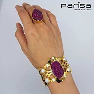Ottoman Collection - Handmade gold plated bracelet and ring embedded with Turkish Druzy Stones and Pearls.