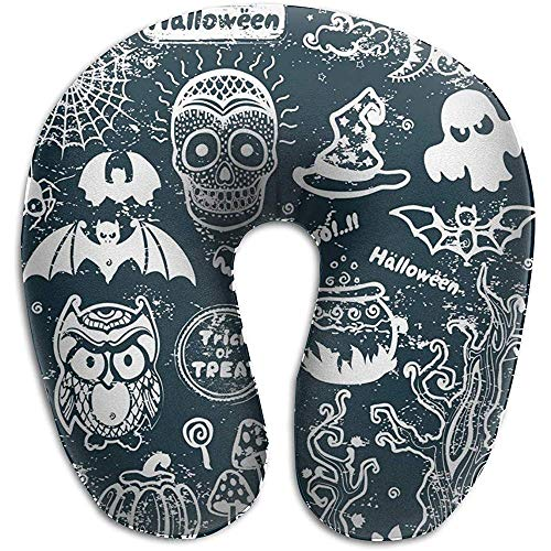 Kussen in U-vorm, vintage Halloween, set met iconen in U-vorm, hoofdkussen van traagschuim, reiskussen in nekvorm, wasbaar, voor vliegtuig, reizen