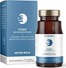 CoQ10 by Nutri-Rich -HIGH Potency 100mg coenzyme Q10, Antioxidant for Heart Health & Cellular Energy, Naturally Fermented, for Aging & Statin Usage (30 Softgels)