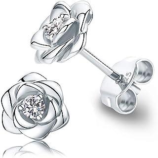 Gold Plated Sterling Silver Rose Flower Earring Studs, Hypoallergenic & Nickel Free Earrings for Women