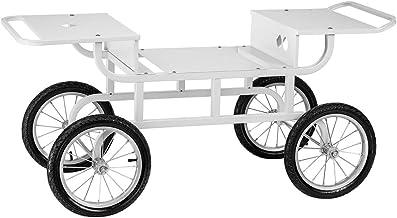 Royal Catering RCZT-01W Chariot pour Machine a Barbe a Papa (4 Roues, Longueur Adaptable, Acier Laqué) Blanc