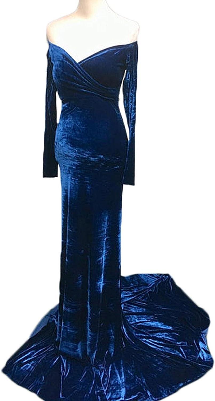 Ellystar Women's V Neck Long Sleeve Luxury Velvet Hollow Mermaaid Formal Dresses