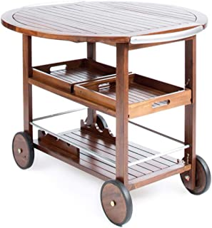 PNPGlobal Bar Cart Tiller Outdoor Dark Acacia Wood with Powder Coated Aluminum Accent